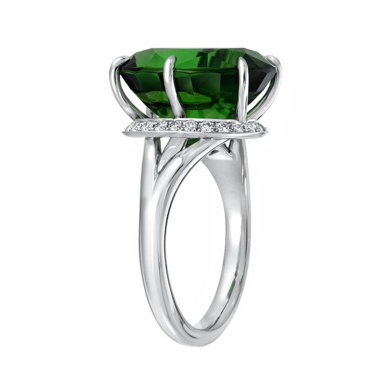 Modern Chrome Green Tourmaline Diamond Ring Tsavorite Diamond Earrings Platinum Set For Sale