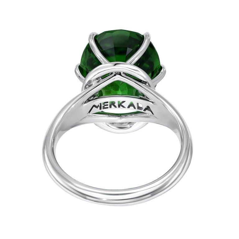 Cushion Cut Chrome Green Tourmaline Diamond Ring Tsavorite Diamond Earrings Platinum Set For Sale