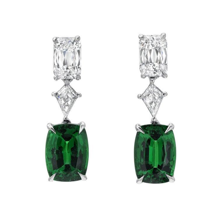 Women's Chrome Green Tourmaline Diamond Ring Tsavorite Diamond Earrings Platinum Set For Sale