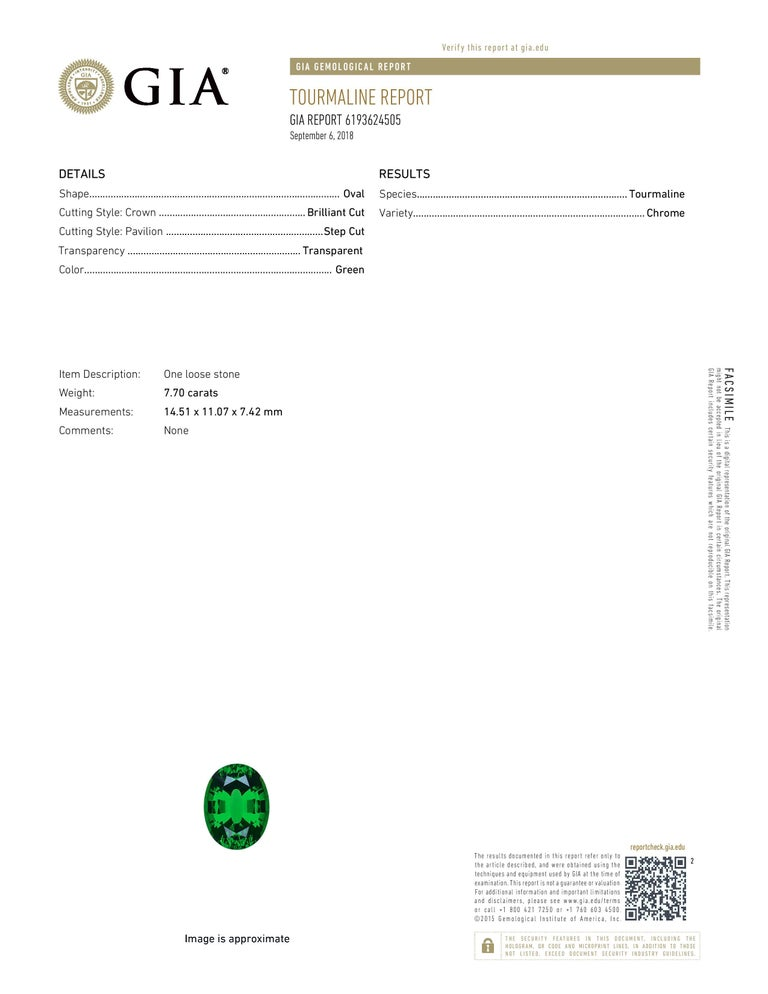 Chrome Green Tourmaline Diamond Ring Tsavorite Diamond Earrings Platinum Set For Sale 2