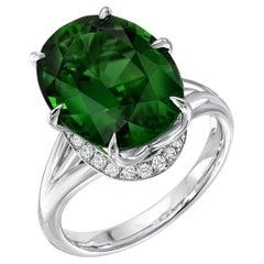 Chrome Green Tourmaline Ring 7.70 Carats