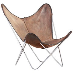 Chrome Hardoy Butterfly Chair by Knoll International in Original Leather