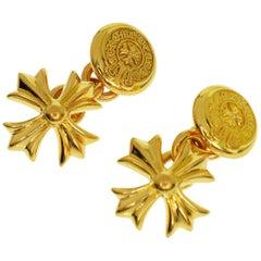 Chrome Hearts 22 Karat Yellow Gold CH Plus Horseshoe Cross Cufflinks