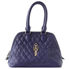 Chrome Hearts Bag Quilted Navy Sterling Silver Hardware Charming