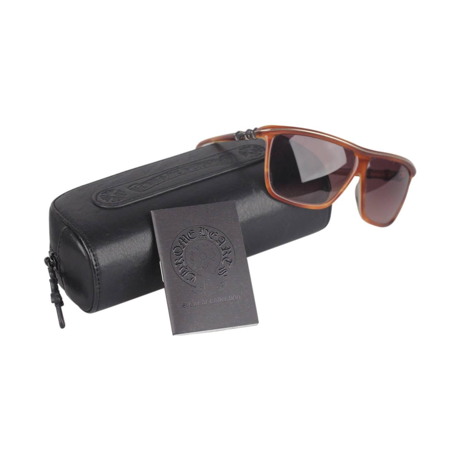4c32f65479d7 CHROME HEARTS Gold Tone Metal Brown Lens STAINS Aviator Sunglasses For Sale  at 1stdibs
