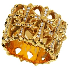 Chrome Hearts Diamond 22 Karat Yellow Gold Cemetery Cross Ring US 7 1/4