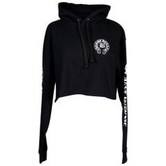 Chrome Hearts Hoodie Cropped Sweatshirt Black w/ White M
