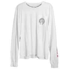 Chrome Hearts Men's/Unisex White Cotton Longsleeve T-Shirt w/ Logo sz L