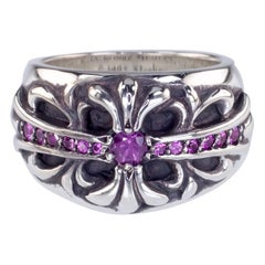 Chrome Hearts Sterling Silver Pink Sapphire Maltese Cross Ring