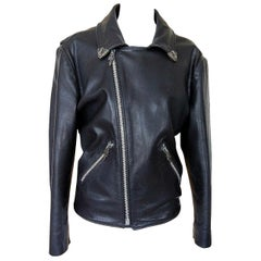 Chrome Hearts Vintage Leather Jacket Sterling Silver Hardware  M