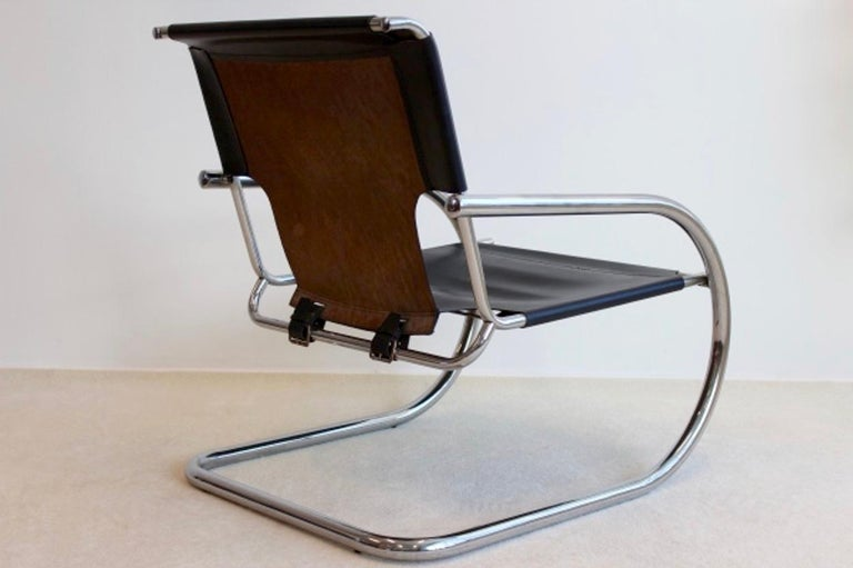 Mid-Century Modern Chrome Leather Cantilever Chair by Arrben Italy For Sale