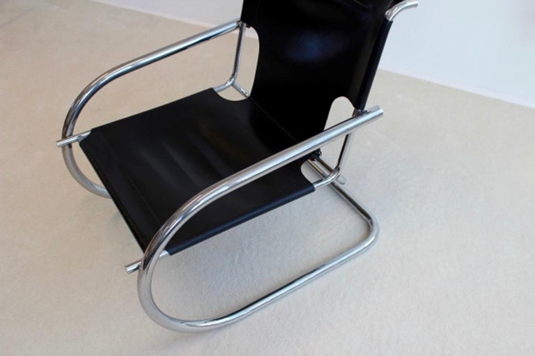Italian Chrome Leather Cantilever Chair by Arrben Italy For Sale