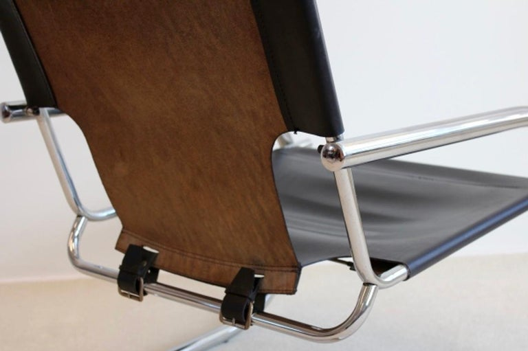 20th Century Chrome Leather Cantilever Chair by Arrben Italy For Sale