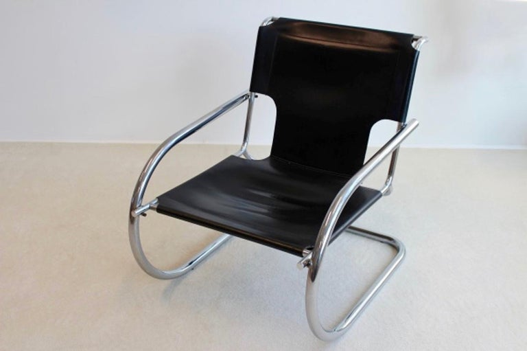 Chrome Leather Cantilever Chair by Arrben Italy For Sale 2