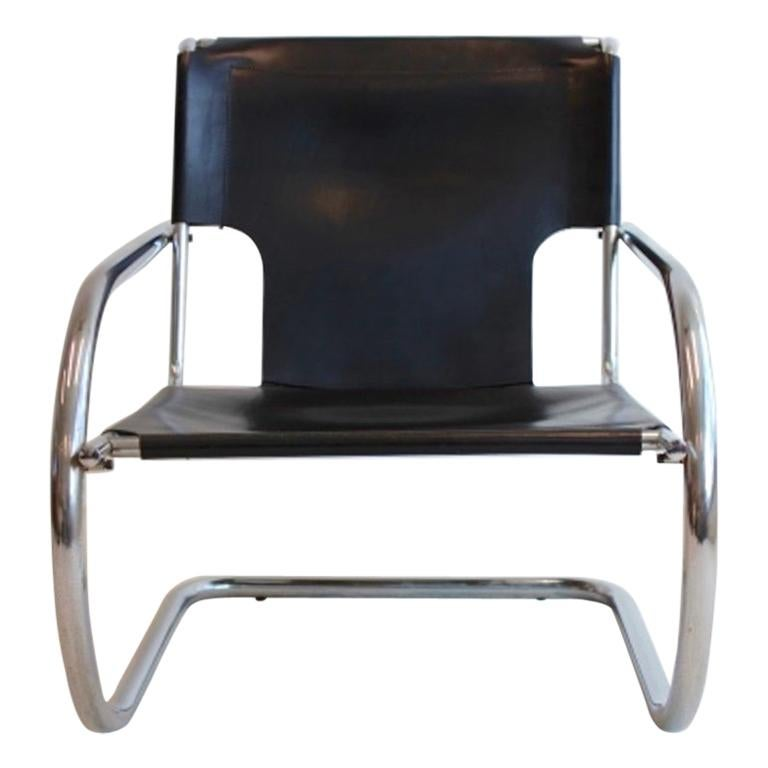 Chrome Leather Cantilever Chair by Arrben Italy