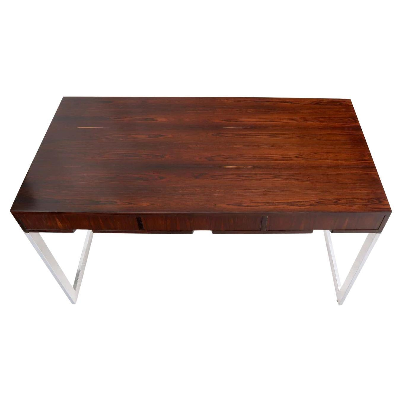 Chrome Low Profile 3-Drawer Console Desk Attributed to Milo Baughman