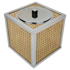 Chrome Lucite Wicker Rattan Barware Ice Bucket Christian Dior Style France 1970s