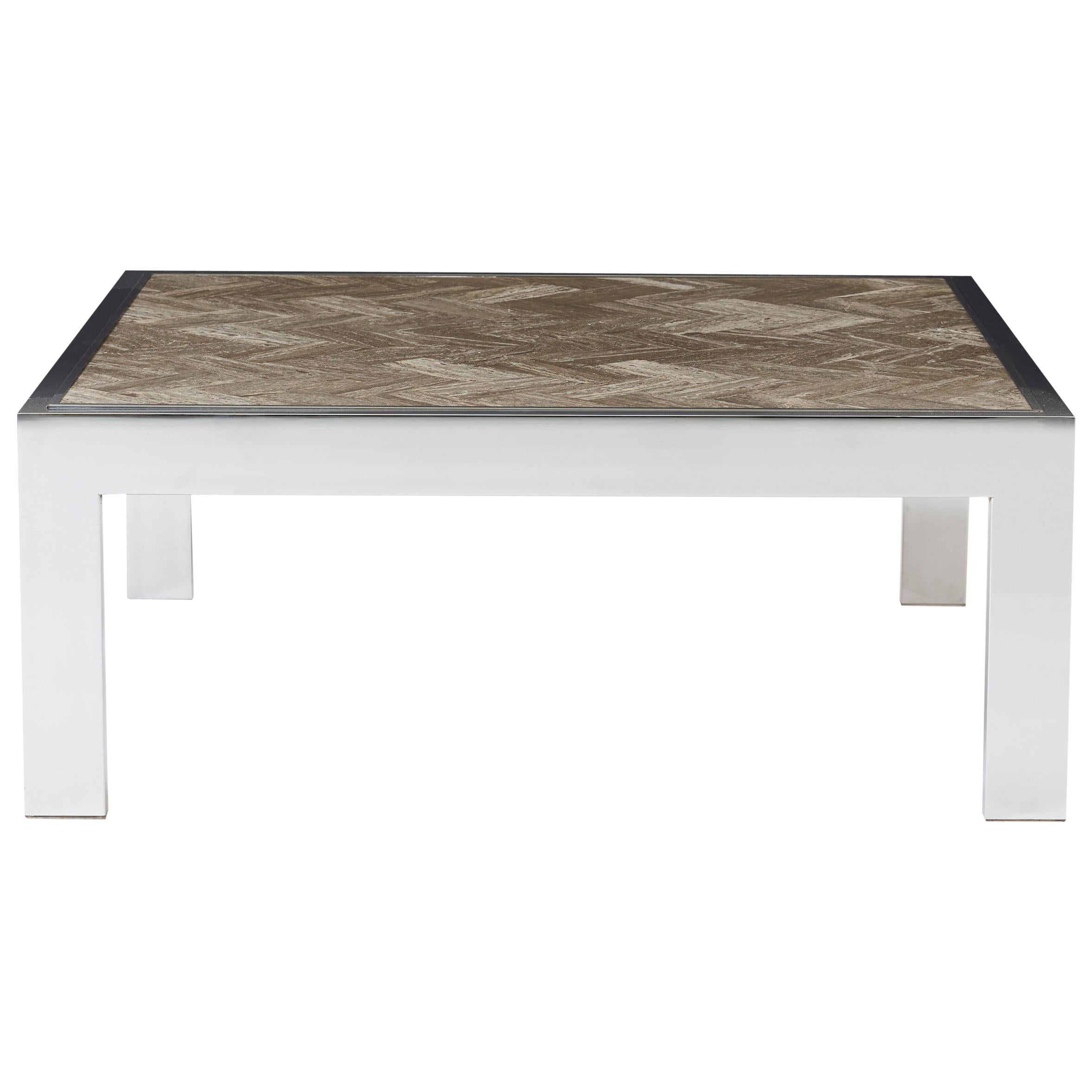 Chrome and Marble Cocktail Table, Leon Rosen for Pace