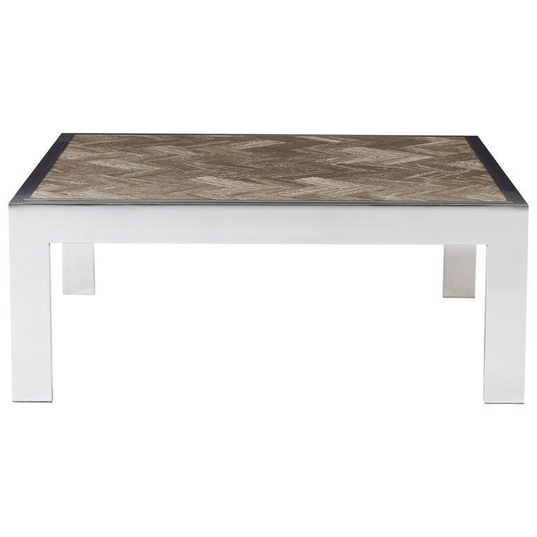 Chrome and Marble Cocktail Table, Leon Rosen for Pace For Sale