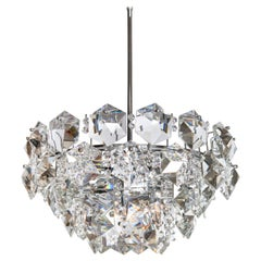 Chrome Metal and Crystal Glass Chandelier by Bakalowits & Söhne, Austria, 1960