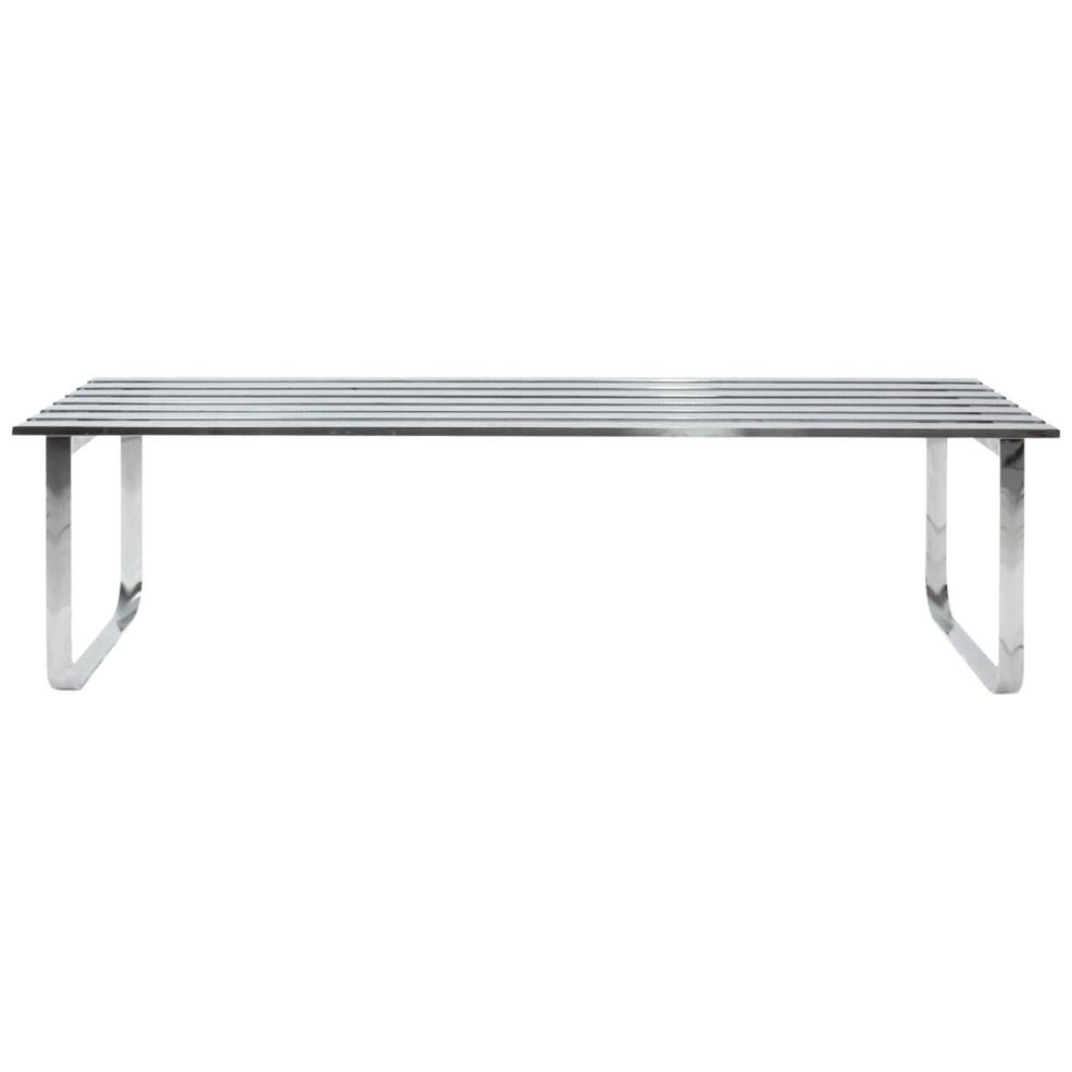 Chrome Metal Slat Bench by Design Institute of America