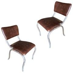 Chrome Midcentury Diningroom Soda Shop Style Side Chair, Pair