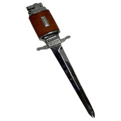 Chrome Midcentury Leather Wrapped Letter Opener Lighter