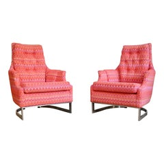 Chrome Milo Baughman Reupholstered Lounge Chairs