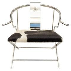 Chrome Ming Style Horseshoe Back Armchair