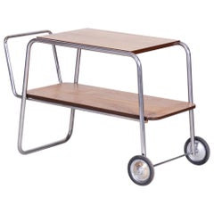 Chrome Oak Bauhaus Trolley, Completely Restored, Halabala, UP Zavody, 1930s