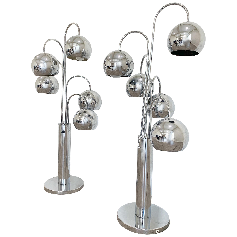 Chrome Pair of 5 Arms Eyeball Table Lamps by Robert Sonneman