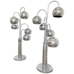 Chrome Pair of 5 Arms Eyeball Table Lamps by Robert Sonneman