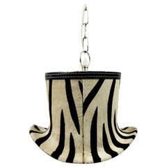 Chrome Pendant in the Shape of a Hat with Zebra Print