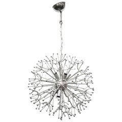 Chrome-Plated Dandelion Chandelier, 1970s