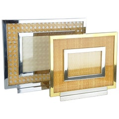 Chrome-Plated & Gilt Metal, Glass & Vienna Straw 1970s Picture Frames, Set of 2