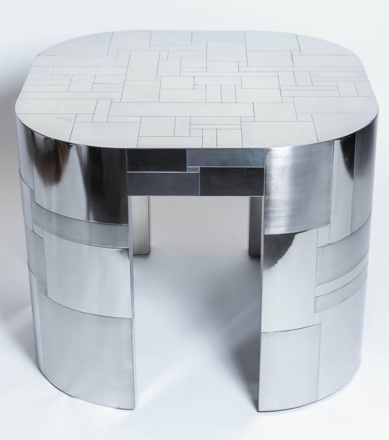 Chrome-plated occasional table by Paul Evans, Cityscape PE500 Series, 1975. Signature to plate on underside.