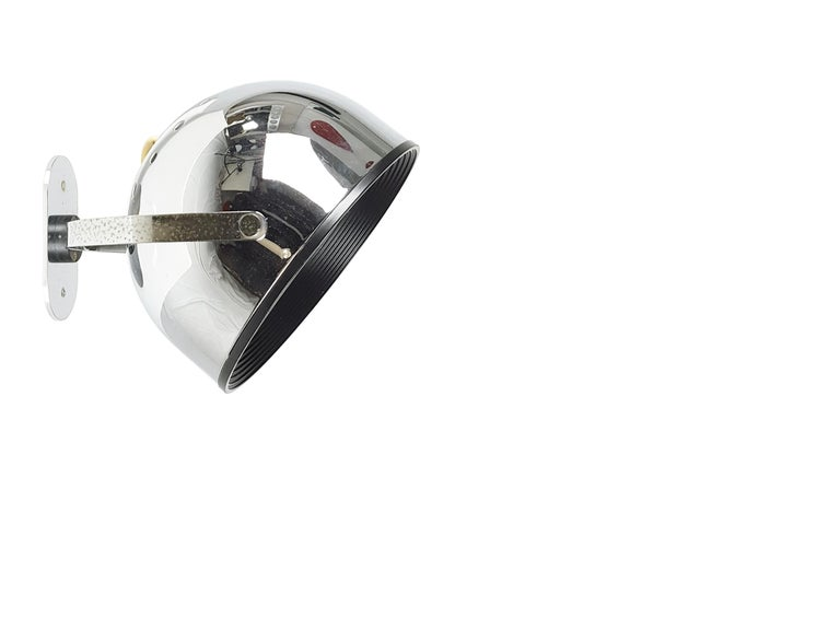 Space Age Chrome-Plated & Painted Metal 1960s-1970s Wall Lamps by Gae Aulenti for Stilnovo For Sale