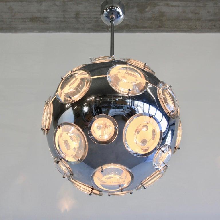 Mid-Century Modern Chrome Plated Pendant Lamp by Oscar Torlasco, 1960s