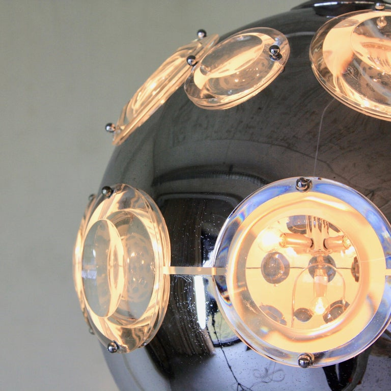 Italian Chrome Plated Pendant Lamp by Oscar Torlasco, 1960s