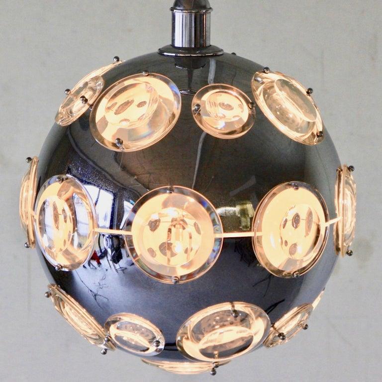 Polychromed Chrome Plated Pendant Lamp by Oscar Torlasco, 1960s