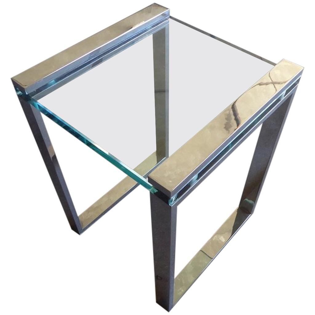 1960s Italian Chrome and Glass Occasional Table