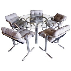 Chrome-Plated Tubular Steel Dining Set Designed by Jerry Johnson, circa 1970s