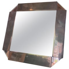 Chrome-Plated Vanity Square Table Mirror, circa 1970s