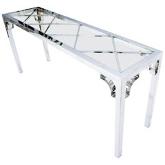 Chrome Rectangular Lattice Diamond Pattern Glass Top Console Sofa Table