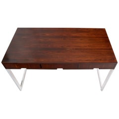 Chrome & Rosewood Low Profile 3-Drawer Console Desk Attributed to Milo Baughman