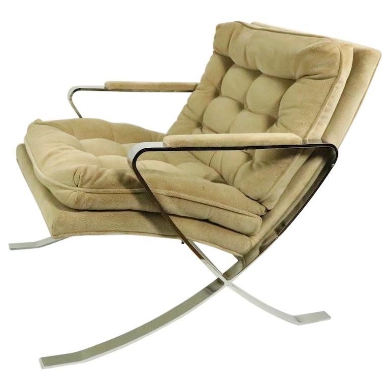 Chrome Scissor Base Lounge Chair