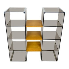Chrome, Smoked Glass and Wood Bookshelf Étagère Gallotti & Radice, Italy, 1970s