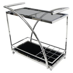 Chrome & Smoked Glass Mid-Century Modern Rolling Serving Cart Bar