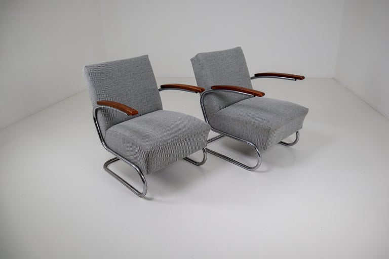 Chrome Steel Armchair by Thonet circa 1930s Midcentury Bauhaus Period For Sale 6