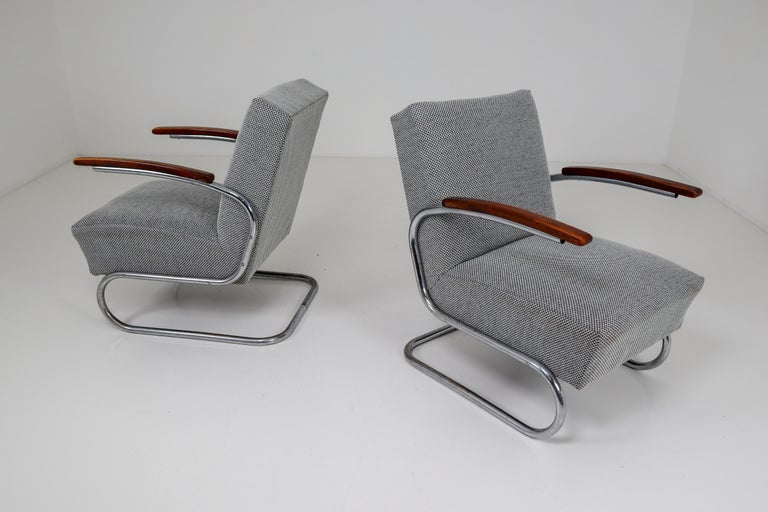 Chrome Steel Armchair by Thonet circa 1930s Midcentury Bauhaus Period For Sale 7